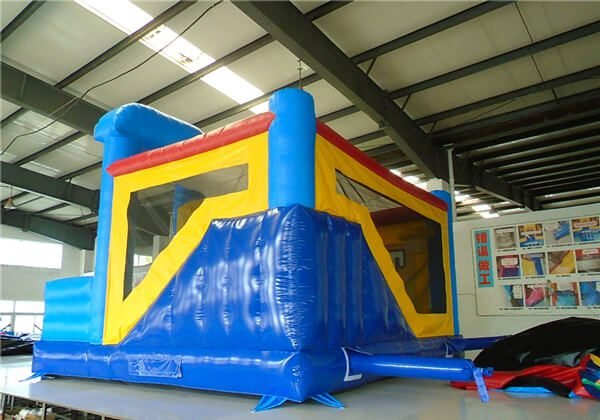rear view of the justice league jumping castle